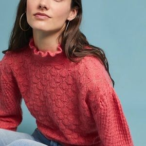 Anthro knitted & knotted coral puff wool sweater
